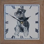 Miniature Schnauzer Clock in Frame