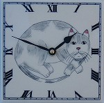 Round Grey Cat Clock